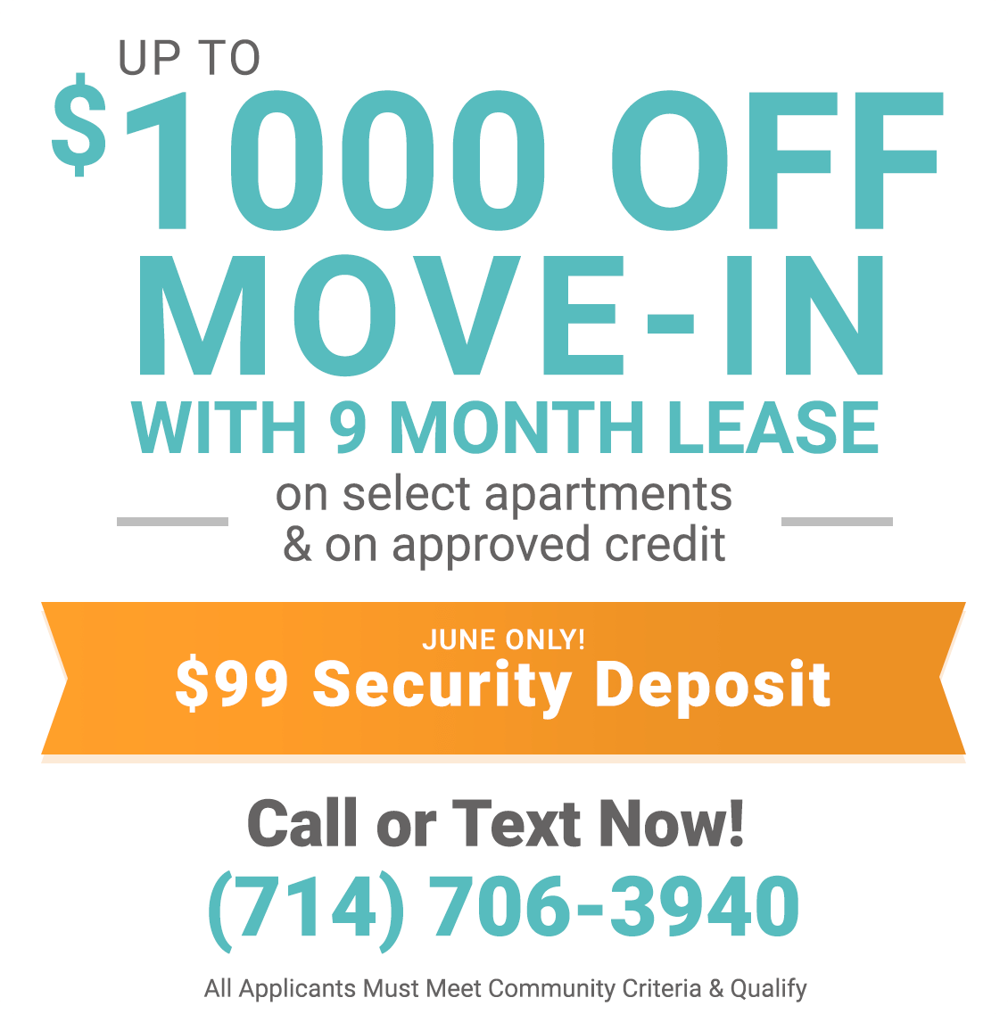 $1000 off move-in with 9 month lease